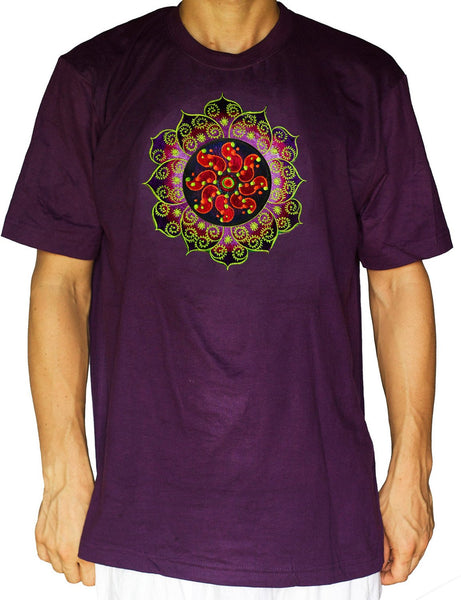 Purple crop circle T-Shirt Tidcombe with fractal mandala blacklight active handmade embroidery no print goa t-shirt