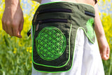 Beltbag Cosmic Rebirth - 7 pockets, strong ziplocks,size adjustable with hook & loop and clip - blacklight active lines flower of life alien