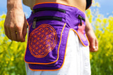Beltbag rainbow LSD mandala - 7 pockets, strong ziplocks, size adjustable with hook & loop and clip - blacklight active lines flower of life