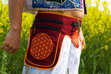 Beltbag red AUM mandala - 7 pockets, strong ziplocks, size adjustable with hook & loop and clip - blacklight active lines good luck
