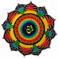 Beltbag rainbow AUM mandala - 7 pockets strong ziplocks size adjustable with hook & loop and clip - blacklight active cosmic music goatrance