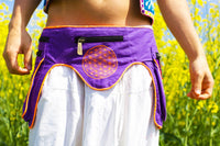 Beltbag Mushroom Planet Purple - 7 pockets,strong ziplocks,size adjustable - hook & loop and clip - blacklight active lines flower of life