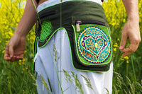 Beltbag Ayahuasca Heart - 7 pockets strong ziplocks size adjustable with hook & loop and clip - blacklight active lines flower of life alien