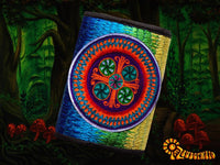 4 variations of huichol peyote moneypockets - pocket for coins and cards and 2 for papermoney with hook & loop - blacklight active wallet