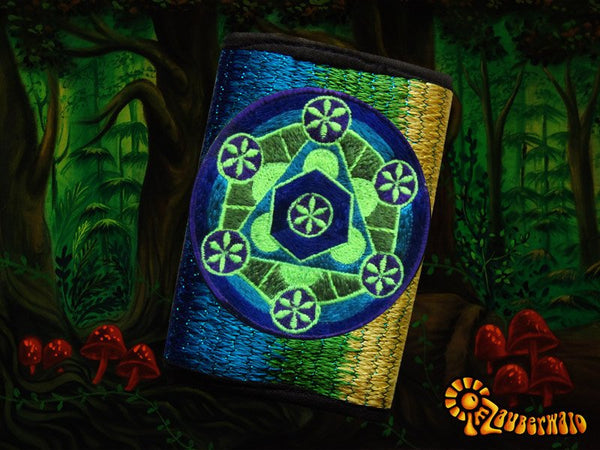 4 variations of holy geometry moneypockets - pocket for coins and cards and 2 for papermoney with hook & loop - blacklight active wallet