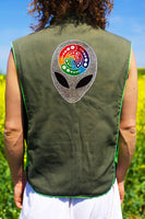 alien attributes - Design your jacket in any colours - handmade in your size crop circle blacklight active 1 zip lock inside pocket