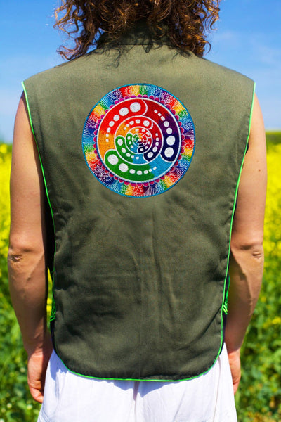 rainbow fractal attributes - Design your jacket in any colours -handmade in your size crop circle blacklight active 1 zip lock inside pocket