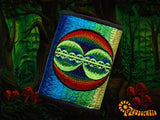 4 variations of crop circle moneypockets - pocket for coins and cards and 2 for papermoney with hook & loop - blacklight active UFO wallet