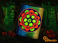 4 variations of sacred geometry moneypockets - pocket for coins and cards and 2 for papermoney with hook & loop - blacklight active wallet