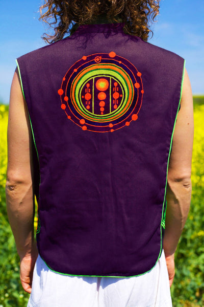 galactic federation crop circle - Design your jacket in any colours -handmade in your size blacklight active 1 zip lock inside pocket