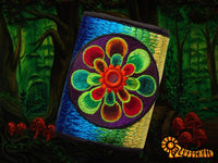 4 variations of mirror flower moneypockets - pocket for coins and cards and 2 for papermoney with hook & loop - blacklight active wallet