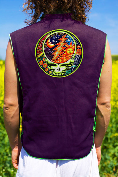 grateful dead jacket - Design it yourself in any colours - handmade at any size blacklight active 1 zip lock inside pocket