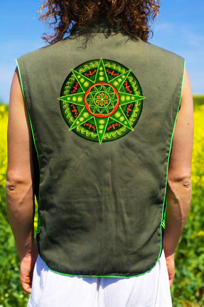 seed of life green star - Design your jacket in any colours -handmade in your size blacklight active 1 zip lock inside pocket