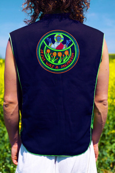 jesus was a mushroom - Design your jacket in any colours -handmade in your size blacklight active 1 zip lock inside pocket