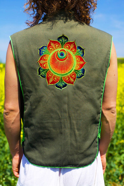 the flower angel crop circle - Design your jacket in any colours -handmade in your size blacklight active 1 zip lock inside pocket