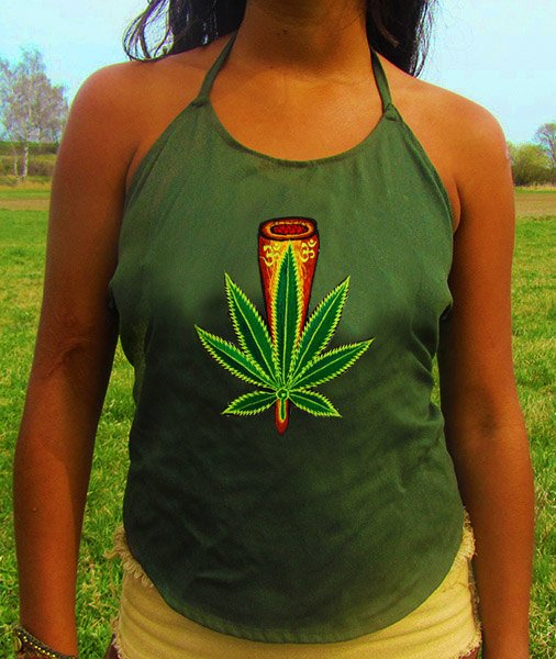 cannabis aum chillum women top shirt psychedelic handmade no print goa alex grey t-shirt blacklight active