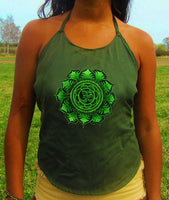 green aum mandala women top shirt psychedelic handmade no print goa t-shirt blacklight active
