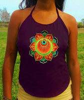rainbow flower angel crop circle women top shirt psychedelic handmade no print goa tank t-shirt blacklight active