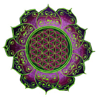 greenpurple flower of life celtic mandala women top shirt psychedelic handmade no print goa tank t-shirt blacklight active