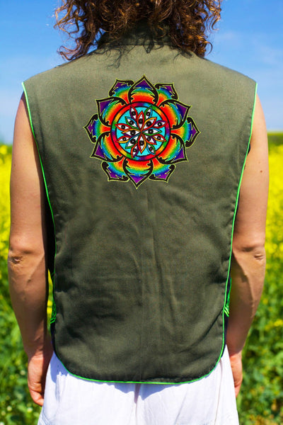 1000 eyes - Design your jacket in any colours - handmade in your size embroidery no print blacklight active 1 zip lock inside pocket