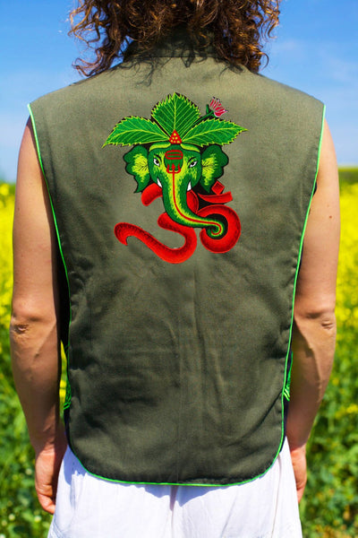 green aum ganesha - Design your jacket in any colours -handmade in your size blacklight active 1 zip lock inside pocket