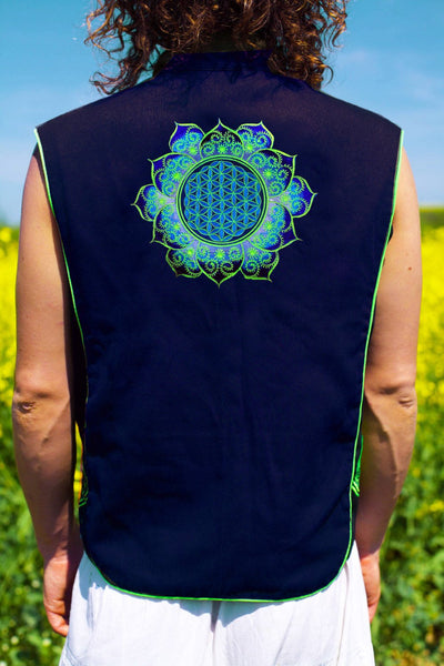 blue fractal flower of life - Design your jacket in any colours - handmade in your size blacklight active 1 zip lock inside pocket