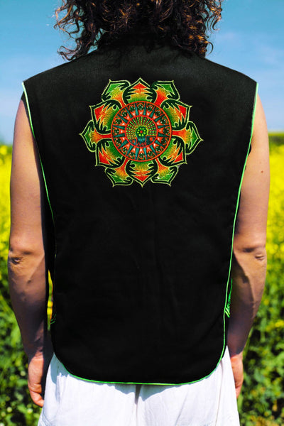 peyote mandala - Design your jacket in any colours -handmade in your size blacklight active 1 zip lock inside pocket