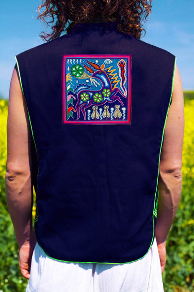 huichol art the deer peyote spirit - Design your jacket in any colours -handmade in your size blacklight active 1 zip lock inside pocket