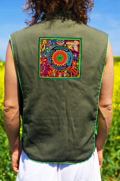huichol peyote artwork - Design your jacket in any colours -handmade in your size blacklight active 1 zip lock inside pocket