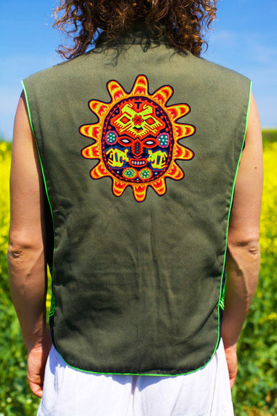 huichol sun mask - Design your jacket in any colours -handmade in your size blacklight active 1 zip lock inside pocket
