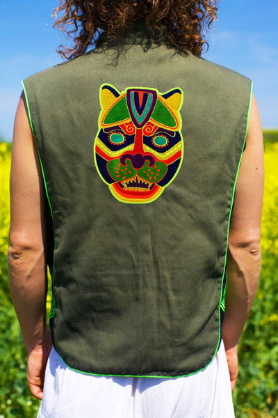 maya jaguar mask - Design your jacket in any colours -handmade in your size blacklight active 1 zip lock inside pocket