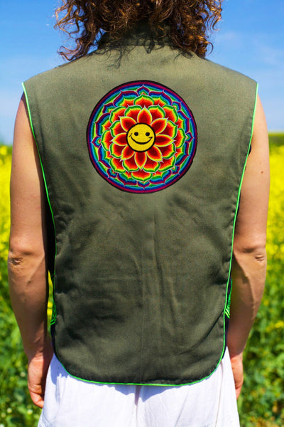 lotus smiley mandala - Design your jacket in any colours -handmade in your size blacklight active 1 zip lock inside pocket