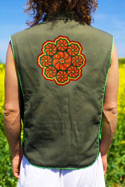 mescaline cactus mandala - Design your jacket in any colours -handmade in your size blacklight active 1 zip lock inside pocket