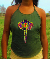dragonfly crop circle women top shirt psychedelic handmade no print goa t-shirt blacklight active