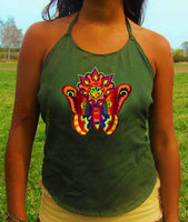 rainbow moon butterfly women top shirt psychedelic handmade no print goa alex grey t-shirt blacklight active