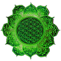 flower of life green celtic mandala women top shirt psychedelic handmade no print goa t-shirt blacklight active