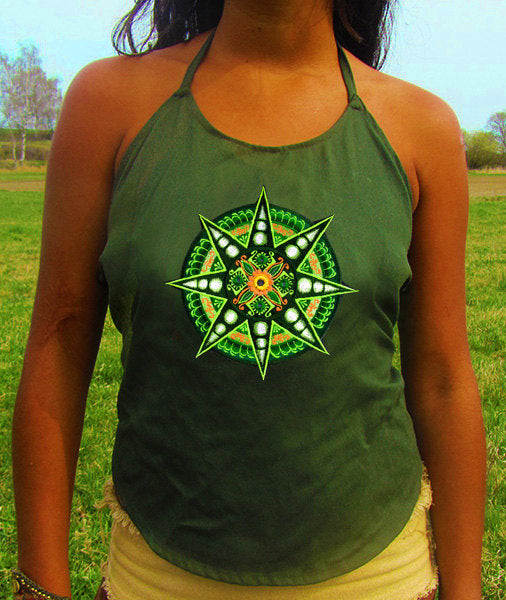 mirror star women top shirt psychedelic holy geometry sacred yantra handmade no print goa t-shirt blacklight active