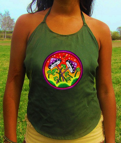 magic mushroom space planet top shirt psychedelic handmade no print goa t-shirt blacklight active