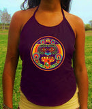 purple hofmann 2012 maya kalender lsd tongue women top shirt psychedelic handmade no print goa t-shirt blacklight active