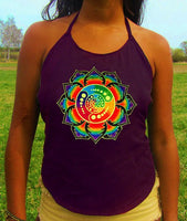 purple attributes rainbow mandala crop circle women top shirt psychedelic handmade no print goa alex grey t-shirt blacklight active