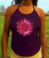 purple flower of life flower mandala women top shirt psychedelic handmade no print goa tank t-shirt blacklight active