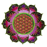 greenpurple flower of life mandala women top shirt psychedelic handmade no print goa tank t-shirt blacklight active