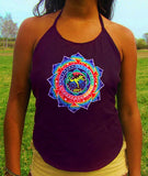 hofmann mandala bicycle day women top shirt psychedelic handmade no print goa purple t-shirt blacklight active