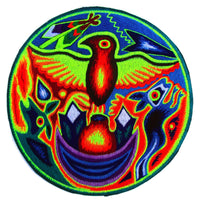 indigene huichol eagle women top shirt psychedelic handmade no print goa tank t-shirt blacklight active