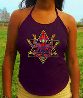 space merkaba goddess women top shirt psychedelic handmade no print goa tank t-shirt blacklight active