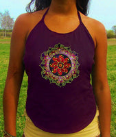 purple fractal tidcombe crop circle women top shirt psychedelic handmade no print goa tank t-shirt blacklight active