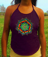 rainbow tidcombe crop circle women top shirt psychedelic handmade no print goa tank t-shirt blacklight active