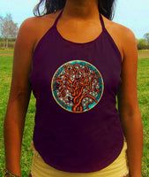 tree of life women top shirt psychedelic handmade no print goa tank t-shirt blacklight active