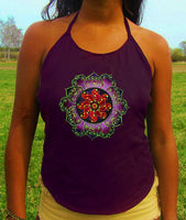 purple celtic tidcombe crop circle women top shirt psychedelic handmade no print goa tank t-shirt blacklight active