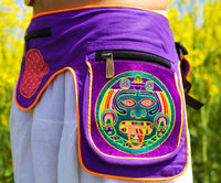 Beltbag purple Hofmann 2012 - 7 pockets, strong ziplocks, size adjustable with hook & loop and clip - blacklight active lines flower of life